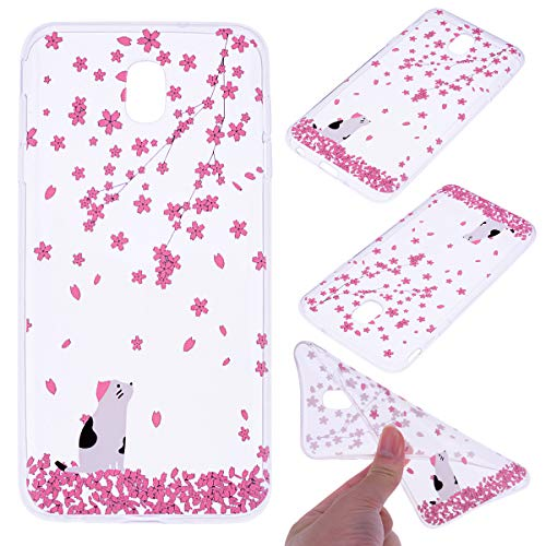 Samsung Galaxy J3 2018 Case,J3 Orbit/J3 Achieve/J3 Express Prime/J3 Emerge 2018/Amp Prime 3/Eclipse 2/Sol 3/Star/ J3V 3rd Gen Cover, ADMON Lightweight Soft Clear Protective Case (Cherry Blossom cat)