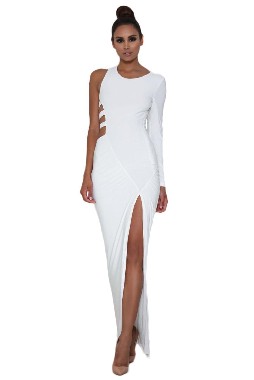 Blanco Sola manga larga jersey maxi vestido de fiesta Club Wear talla S de fiesta 8 - 10 UK UE 36 - 38: Amazon.es: Bricolaje y herramientas