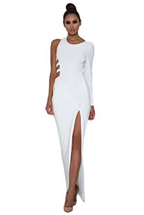 SunShine White Single Long Sleeve Cutout Detail Jersey Maxi Dress White (US 4-6