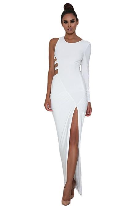 Blanco Sola manga larga jersey maxi vestido de fiesta Club Wear talla S de fiesta 8