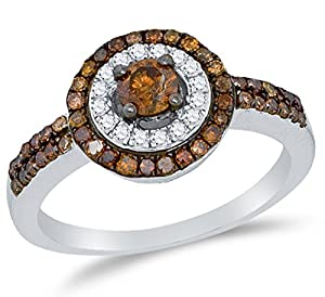Size 5 - 10K White Gold Chocolate Brown & White Round Diamond Halo Circle Engagement Ring - Prong Set Solitaire Center Setting Shape (3/4 cttw.)