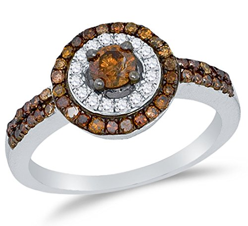 Size 7-10K White Gold Chocolate Brown & White Round Diamond Halo Circle Engagement Ring - Prong Set Solitaire Center Setting Shape (3/4 cttw.) ()