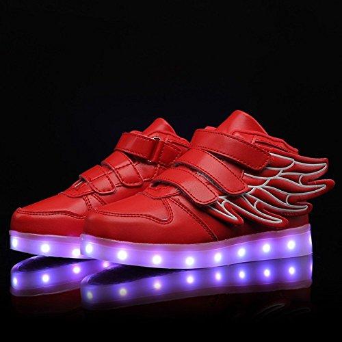Aidonger - Zapatillas deportivas infantiles con led que cambia a 7 colores, con carga USB Rojo