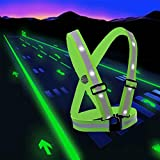 lighted vest for running - LED Reflective Safety Vest with Storage Pouch - USB Charging Elastic and Adjustable Reflective Running Gear for Outdoor Sports Dog Walking Cycling Motorcycle - LED Glowing Reflector Straps (White)