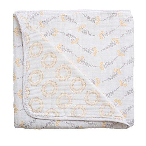 Bebe au Lait Premium Muslin Snuggle Blanket, Wildflower and Halo
