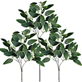 Supla 6 Pcs Faux Seeded Eucalyptus Leaves Spray Fake Artificial Eucalyptus Stems Bulk in Green 25'' Tall for Eucalyptus Wreaths Garland Bouquet Floral Arrangements Holiday Greens Christmas Greenery