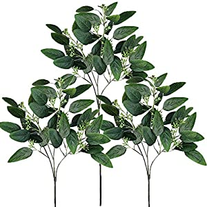 "Supla 6 Pcs Faux Seeded Eucalyptus Leaves Spray Fake Artificial Eucalyptus Stems Bulk in Green 25"" Tall for Eucalyptus Wreaths Garland Bouquet Floral Arrangements Holiday Greens Christmas Greenery 1"
