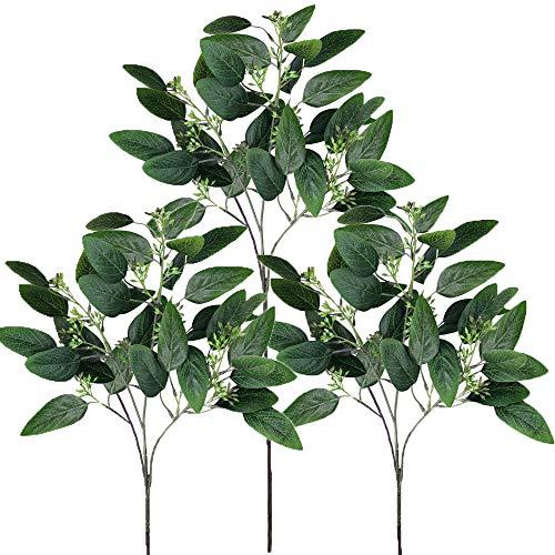 (Supla 6 Pcs Faux Seeded Eucalyptus Leaves Spray Fake Artificial Eucalyptus Stems Bulk in Green 25
