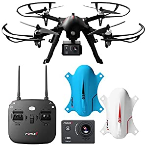 F100 Ghost Drone with Camera - 1080p Remote Control Go Pro Drones for Adults and Kids - RC Brushless Drone for Go Pro Hero with Long Flight Time, Long Range & Extra Battery from Force1