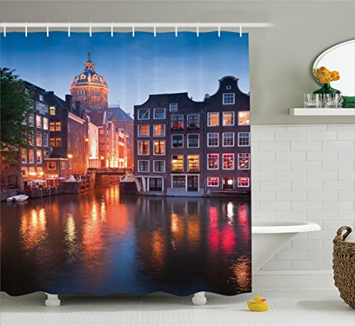 Ambesonne Wanderlust Decor Collection, Night Time Illuminations of The Neo-Renaissance St Nicholas Church in Amsterdam Picture, Polyester Fabric Bathroom Shower Curtain Set with Hooks, Orange