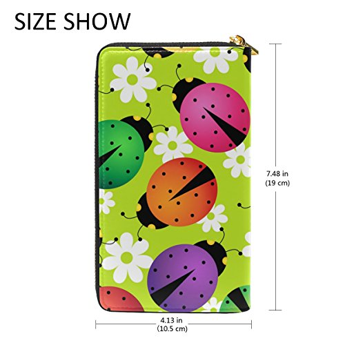 Flower Handbags Pattern Clutch Wallet Organizer Colorful 1 Purses Ladybugs Womens TIZORAX And Around Zip E8gRUqCw