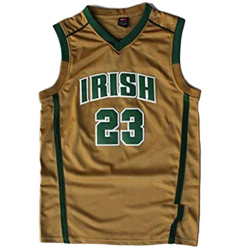 Saint Vincent-Saint Mary High School #23 Men's Classic Retro Embroidery Gold Basketball Jersey - M