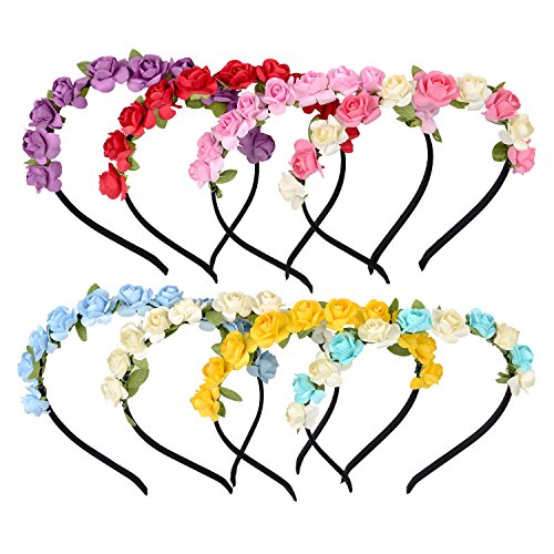 Maxdot 8 Pieces Flower Crown Headband Rose Wedding Garland Bridal Floral Wreath Hairband for Women Girl Hair Decoration, 8 Colors (Decoration Girl Hair)