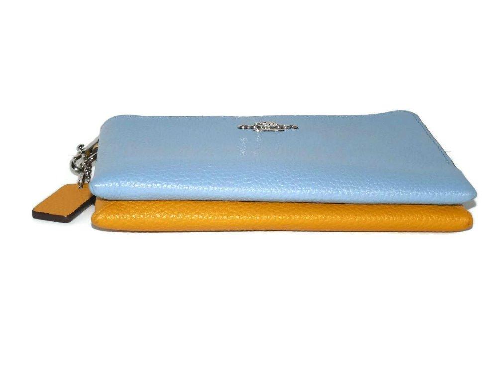 Coach Colorblock Double Corner Zipper Blue Sunflower Yellow Leather Wristlet, 64799 by Coach (Image #4)