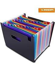 Carpeta Clasificadora Archivador Acordeon 24 Bolsillos Ampliación Carpeta de Archivos A4 Plastico Organizador Soporte Extensible Portátil TsLolly