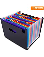Expanding Files Folder, 24 Pockets Document Folder Multi-Color Accordion A4 Expandable File Organizer Business File Organizer Box