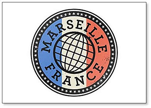 - Marseille, France - Grunge Style Illustration - Classic Fridge Magnet