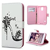 S5 Case, Samsung Galaxy S5 Case - Mavis's Diary Flip Wallet PU Leather Case with Bling Sparkle Shiny Diamonds with Card Holders & Magnetic Clip Soft TPU Inner Protective Cover - High-heeled Shoe