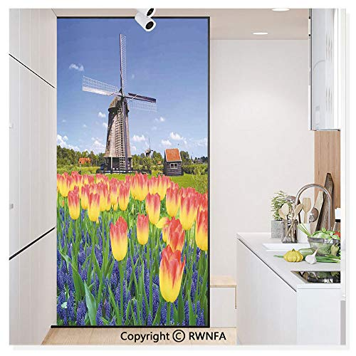 Window Glass Sticker Door Mural Tulip Blooms with Classic Dutch Windmill Netherlands Countryside Spring Picture Static Cling Privacy No Glue Film Home Decorative 11.8x59.8inch,Yellow Blue