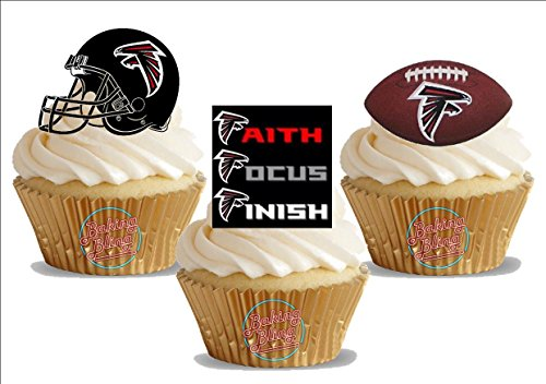 NFL American Football Atlanta Falcons Trio Mix - Fun Novelty Birthday PREMIUM STAND UP Edible Wafer Card Cake Toppers Decoration