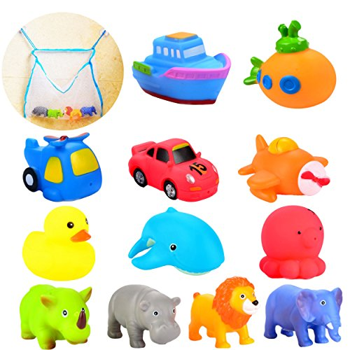 Rubber Race Car Ducks - Joyin Toy 12 Pack 3.5'' Squirt Squeaker Bath Toys with Toy Organizer for Fun Bath and Stocking Stuffers