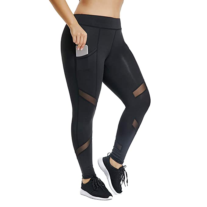77961ac852 Joyshaper Women's Mesh Panel Leggings with Pockets Skinny Stretch Workout  Yoga Pants Sport Capri Tights(