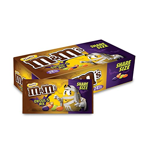 M&M'S Peanut Halloween Chocolate Candy Ghoul's Mix 3.27-Ounce Share Size, 24-Count