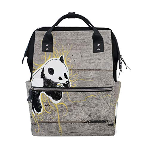 Fashion Diaper Bags Mummy Backpack Pandas Wallpaper Multi Functions Large Capacity Nappy Bag Nursing Bag for Baby Care for Traveling ()