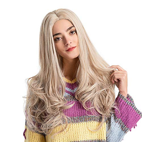 Foncircle Fashion Wavy Light Blonde Long Wavy Curly Natural Synthetic Hair Wigs for Halloween Cosplay Costume Wig Artificial Hair -