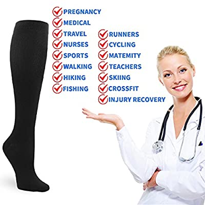4 Pairs Compression Socks for Men and Women 20-30 mmHg Compression Stockings: Clothing