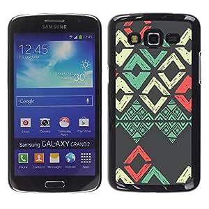 LECELL--Funda protectora / Cubierta / Piel For Samsung Galaxy Grand 2 SM-G7102 SM-G7105 -- Teal White Pink Grey Pattern --