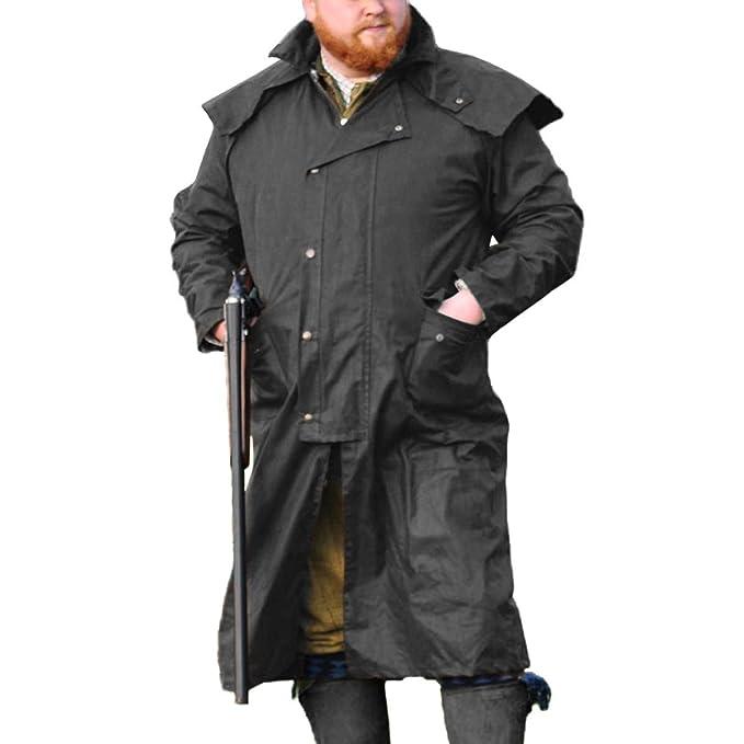 Abrigo largo Stockman de Game para hombre de algodón encerado Negro negro Small: Amazon.es: Ropa y accesorios
