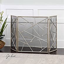 Modern Lines 3 Panel Fireplace Screen with Protective Mesh Backing