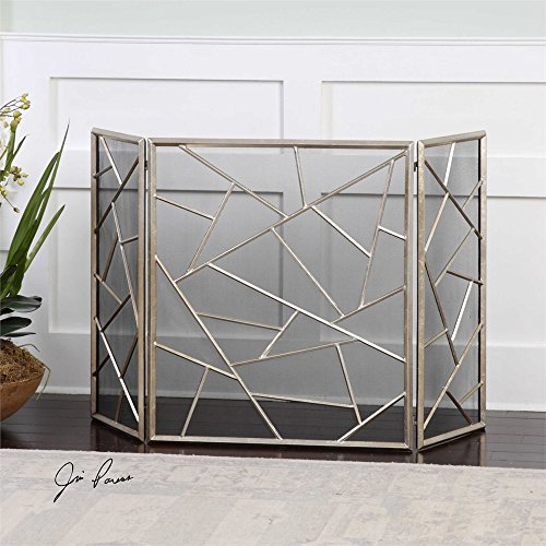 Modern Lines 3 Panel Fireplace Screen with Protective Mesh B