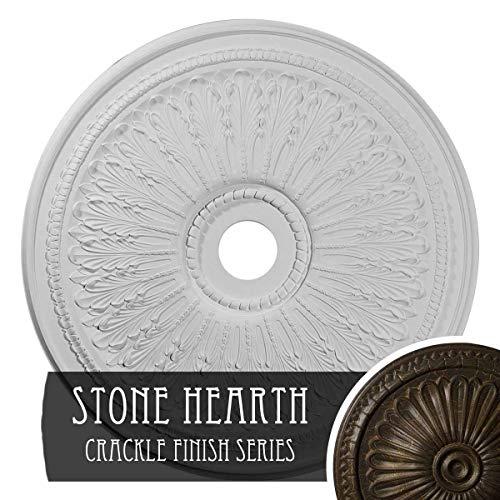 """Ekena Millwork CM29OASHC 29-1/8"""" x 3-5/8"""" x 1"""" Oak Leaf Ceiling Medallion Stone Hearth Crackle"""