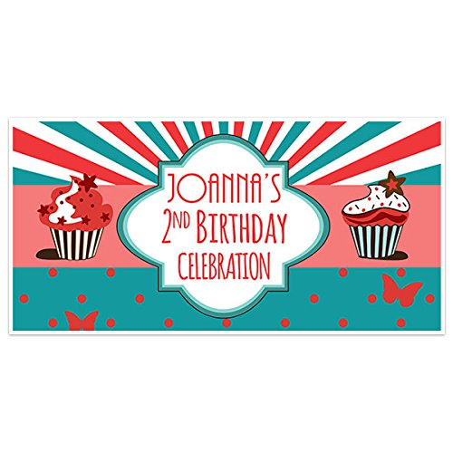 amazon com funky cupcake birthday banner personalized party