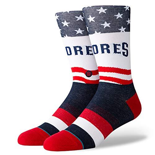(Stance Stars And Bars MLB Baseball Socks - USA Crew Socks (Padres, Large))