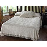 Martha Washington's Choice Bedspread - Queen - White -  with String Fringe