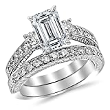 1.62 CTW Three Stone Vintage With Milgrain & Filigree Bridal Set with Wedding Band & Diamond Engagement Ring w/ 0.59 Ct GIA Certified Emerald Cut F Color SI1 Clarity Center