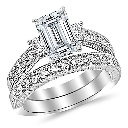 (14K White Gold 1.62 CTW Three Stone Vintage With Milgrain & Filigree Bridal Set with Wedding Band & Diamond Engagement Ring w/ 0.59 Ct GIA Certified Emerald Cut F Color SI1 Clarity Center)