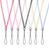 Lanyard Strap,Crystal Neck Strap for Cellphones, Phone Cases, Cameras, Keys,Crystal Cellphone Necklaces(19''7 Pack in 7 Assorted Colors)