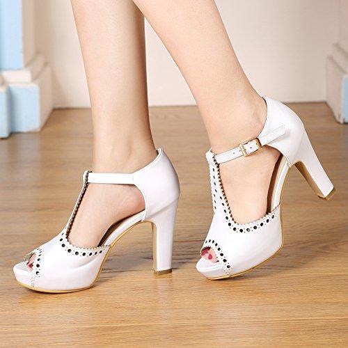 Dress Women's getmorebeauty Straps Pumps Ankle Block Suede Heeled Vintage Sandals White T FqxgqYw