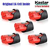 Kastar M12 Rechargeable Battery (5-Pack), Replacement Milwaukee M12 Cordless Tool Battery, 12 Volt 1.5Ah 16Wh Red Lithium Ion Battery For Milwaukee M12 IR, M12 JS, C12 B,C12 BX, C12 D, C12 DD, C12 HZ, C12 IC, C12 ID, C12 IW, C12 PC, C12 PD, C12 PPC, C12 W