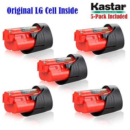 Kastar M12 Rechargeable Battery (5-Pack), Replacement Milwaukee M12 Cordless Tool Battery, 12 Volt 1.5Ah 16Wh Red Lithium Ion Battery For Milwaukee M12 IR, M12 JS, C12 B,C12 BX, C12 D, C12 DD, C12 HZ, C12 IC, C12 ID, C12 IW, C12 PC, C12 PD, C12 PPC, C12 W by Kastar