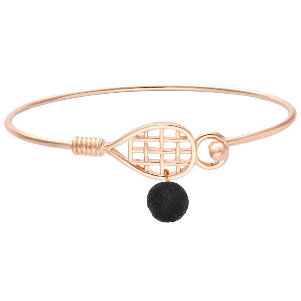 SENFAI Tennis Racket Lava Rock 8mm Aromatherapy Essential Oil Diffuser Sport Hook Clasp Bracelet Bangle 2.6''(Rose gold)