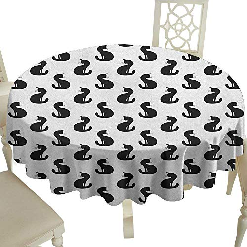 Cranekey Printing Round Tablecloth 65 Inch Cat,Silhouette of a Kitten Monochrome Feline Pattern House Pet Illustration Halloween Black White Great for,Party & More