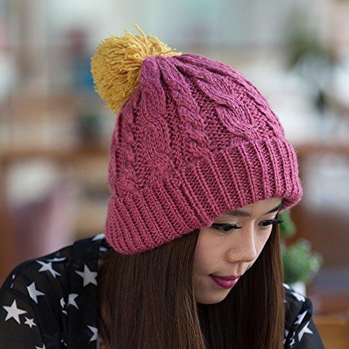 Punto de Invierno de Moda Sombrero Sombrero a Sombrero Bromista Damas para Yellow otoño del PINK Versión Flanger del Coreana Lana Punto Maozi Coreana n0xYYX