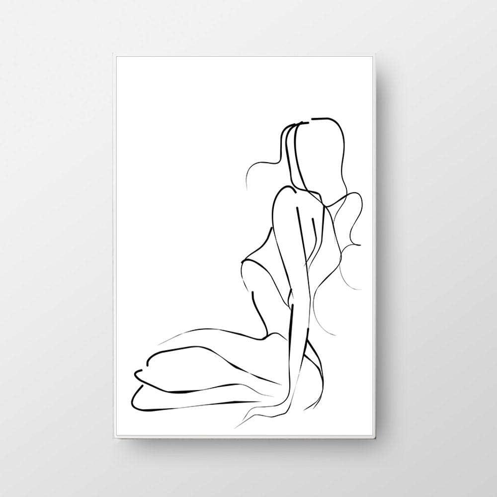 Línea Abstracta Dibujar Cuadros Mujer sentada Pintura para Sala de Estar Decoración del hogar Estilo nórdico-50x70cmx1 Piezas sin Marco