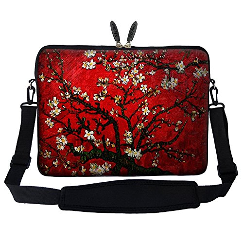 (Meffort Inc 14 14.1 Inch Neoprene Laptop Sleeve Bag Carrying Case with Hidden Handle and Adjustable Shoulder Strap (Vincent Van Gogh Cherry Blossom) )