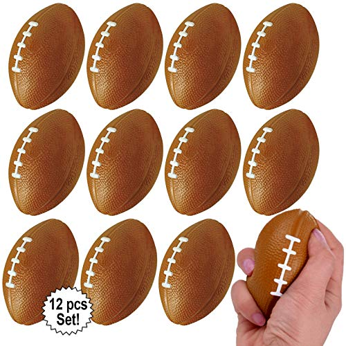 Mini Sports Balls for Kids Party Favor Toy, Soccer Ball, Basketball, Football, Baseball (12 Pack) Squeeze Foam for Stress, Anxiety Relief, Relaxation. (12 Pack (Footballs)) (Mini Soccer Cake Topper)